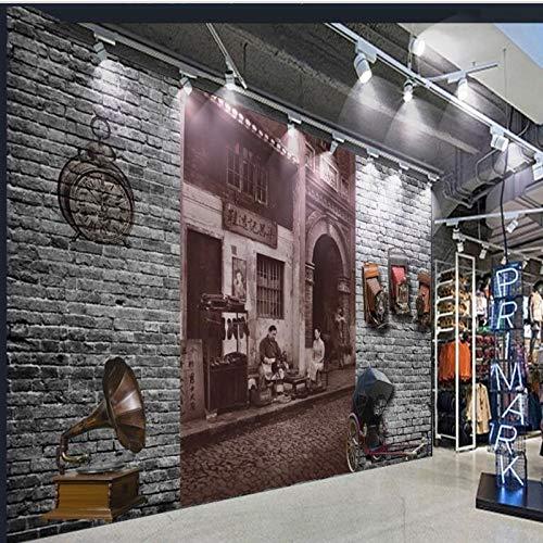 Fotobehang Photo Home Aangepast Groot - Schaal muurschilderingen Straat Oude Shanghai 3D Baksteen muur Retro Behang Milieubescherming Behang