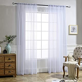 NICETOWN White Sheer Curtains Voile Draperies Rod Pocket & Back Tab Crushed Sheer Window Treatment Voile Curtain Panels for Living Room (1 Pair, 52 Wide x 84 inches Long)
