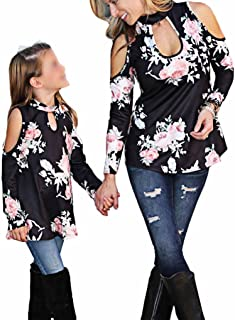 Mommy & Me Floral Cold Off Shoulder Choker Long Sleeve Top Tshirt