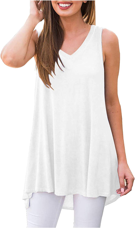 Womens Summer Tops Women Casual V-Neck Fold Sleeveless Vest Solid Short T-Shirt Tops Juniors Girls