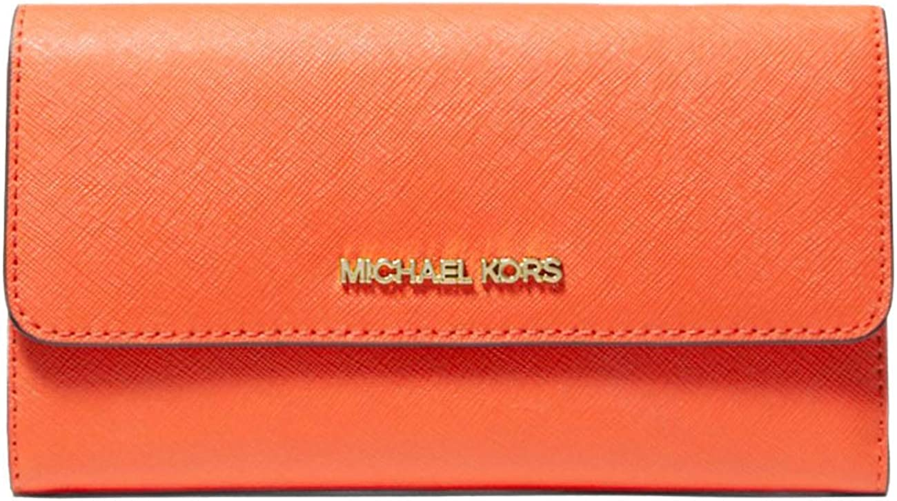 Michael All items free shipping Outlet sale feature Kors Women`s Jet Set Leather Travel Crossgrain Tri-Fold