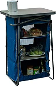 BS Camp Folding Cupboard with Table Top Pantry Prep Table 3 Shelf Cook Table Kitchen Station Storage Organizer Cabinet Picnic Camping Fishing Hunting Trips Sturdy & eBook by BADA Shop
