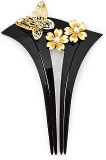 (ソウビエン) バチ型簪 黒 ブラック 金 桜 花 蝶 パールビーズ ラインストーン 結婚式 成人式 卒業式