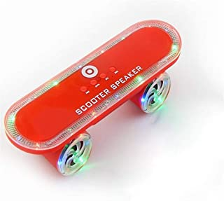 KJRJL Scooter Wireless Bluetooth Speaker with LED Light MP3 Player, Portable Scooter Bluetooth Speaker Built-in Microphone Support TF Card Play (Color : Red)