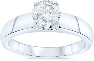 1.01 Carat IGI Certified Round Diamond Solitaire Engagement Ring For Women 14k White Gold (J-K, I2)