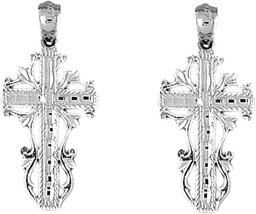 Limited price sale Jewels Obsession Vine 25% OFF Cross White 14K Earrings Gold