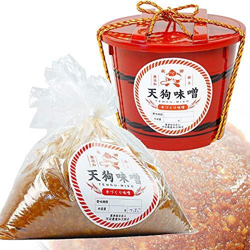 秋田 特上 天狗味噌 天然醸造 無添加 赤樽 1ケース 2.5kg