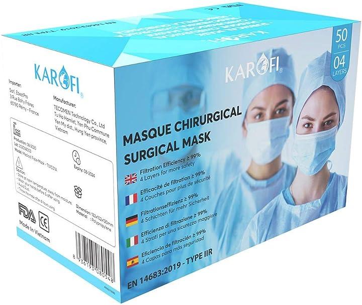 mascherine chirurgiche certificate ce di tipo medico - filtrazione 98% -karofi - scatola 50 pezzi ka3080548