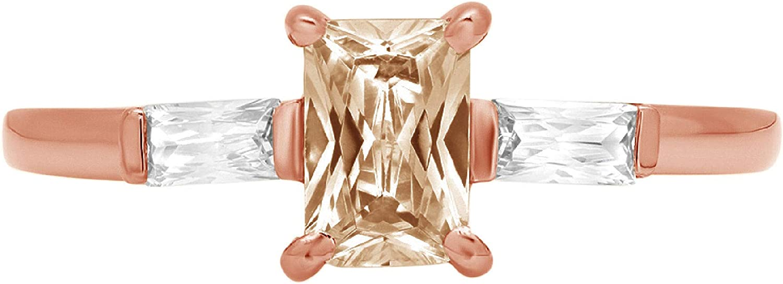 Clara High material Pucci 1.15 Emerald Baguette cut Ranking TOP16 Accent Solitaire 3 S stone