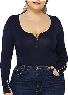 Women Plus Size Long Sleeve Rompers Playsuit Bodycon Leotard Bodysuit