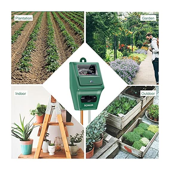 Sonkir Soil pH Meter, MS02 3-in-1 Soil Moisture/Light/pH Tester Gardening Tool Kits for Plant Care, Great for Garden… 2 Kindly NOTE: This soil tester can not be applied to test pH value of any other liquid. If the soil is too dry the indicator will not move, and water it before testing. 3-IN-1 FUNCTION: Test soil moisture, pH value and sunlight level of plant with our soil meter, helps you specialize in grasping when you need to water your plant. ACCURATE & RELIABLE: Double-needle Detection Technology strongly enhances the speed and accuracy of detecting and analyzing soil moisture and pH acidity.