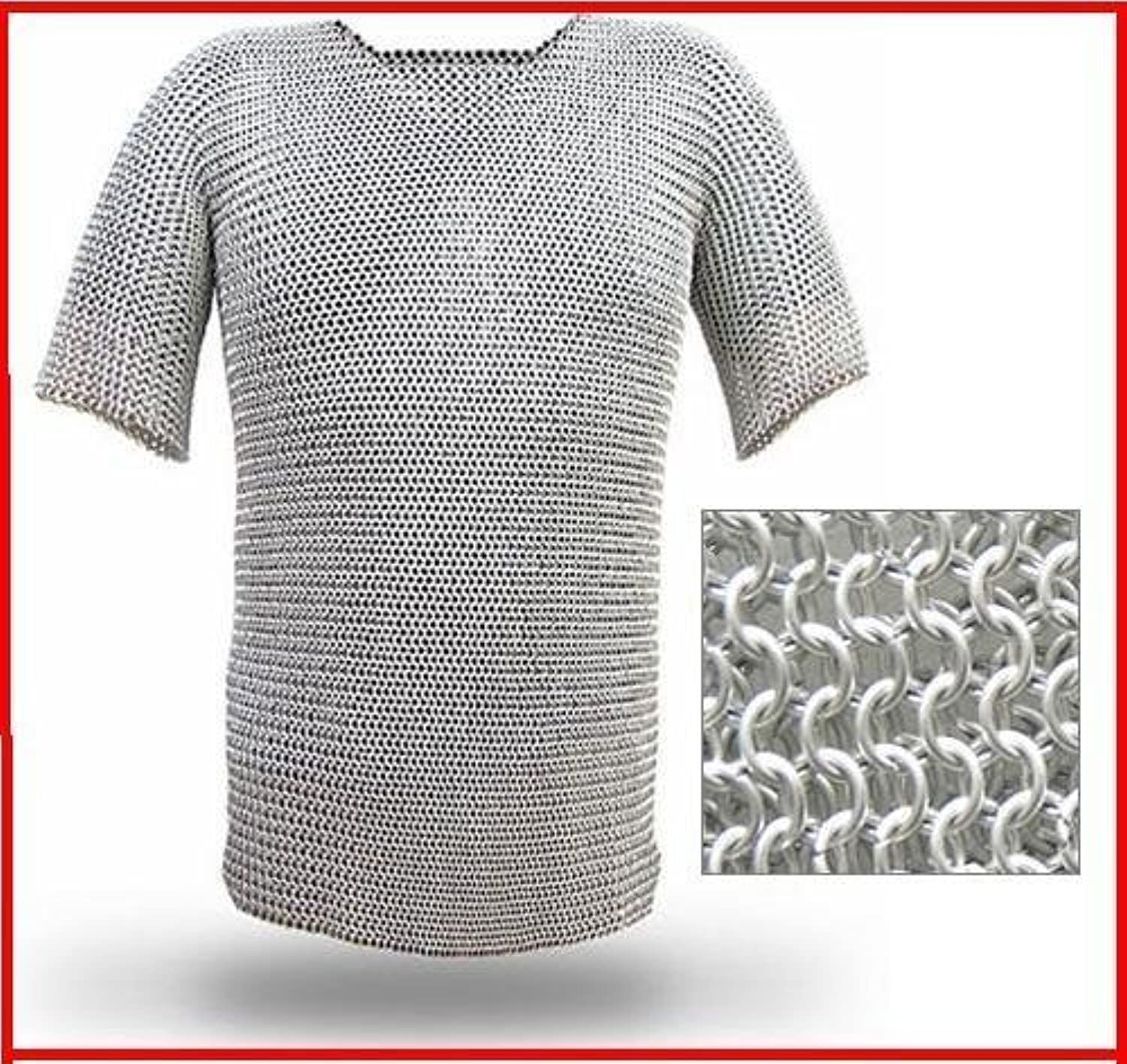 NauticalMart Large Aluminium Chainmail Butted Chain Mail Shirt Haubergeon Medieval Armor