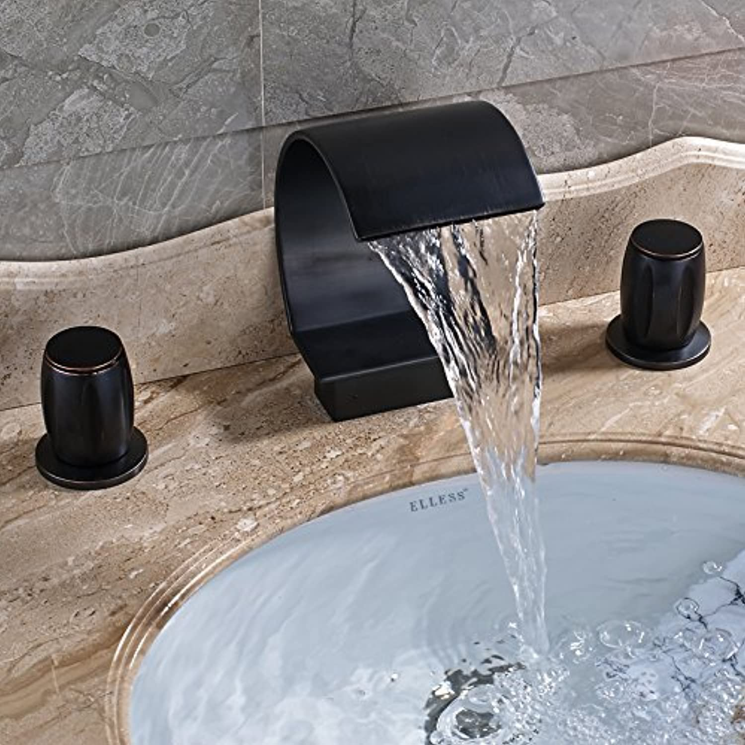The Oil Rubbed Bronze Bath Rooms for 3 pcs wash Basin Sink Mixer Water Tap Faucet Hot & Cold Deck Mount Part of The Water tap