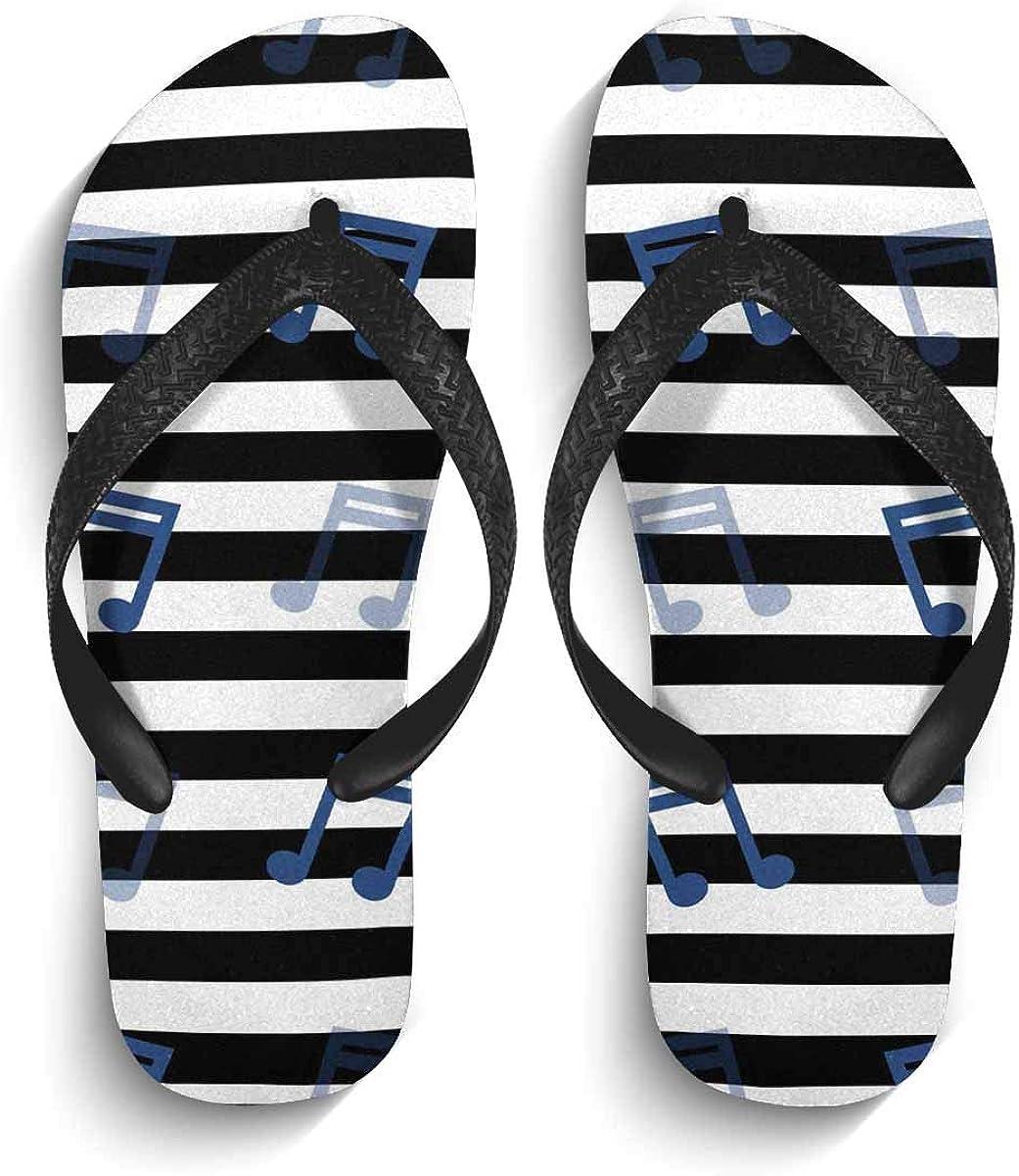 InterestPrint Non-Slip Flip Flops Black Straps Music Note Cute Pattern Summer Beach Thong Sandal for Men