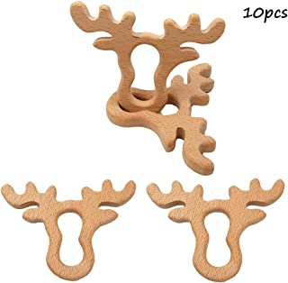 Alenybeby 10pcs Infant Baby Teething Toys Handmade Beech Wooden Animal Teether DIY Crafts Pendant Chewable Accessories (Antlers 10pcs)