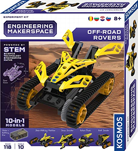 KOSMOS 616335 Engineering Makerspace - Off-Road Rovers mehrsprachige Version (RU, RO, BG, CRO, SVN, EN, nicht DE) Science Experiment Kit, Experimentierset für Kinder