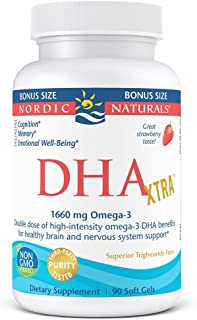 Nordic Naturals DHA Xtra - Potent Healthy Brain and Nervous System Support, Strawberry Flavored, 90 Count