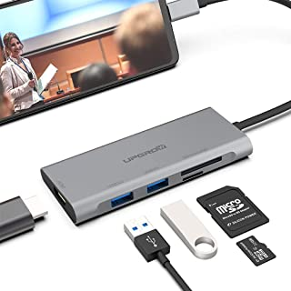 UPGROW USB C to HDMI Hub, Type C 5 in 1 Adapter with 2 USB 3.0 Ports, 4K@30Hz HDMI, SD/TF Card Reader, Compatible with Mac...