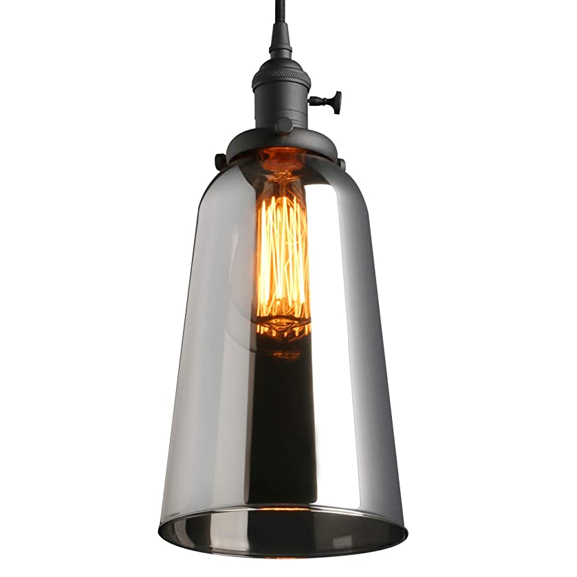 Phansthy Vintage Industrial Ceiling Light Glass Edison Pendant Light with Long Bell Shade