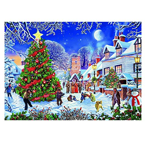 Jigsaw Puzzle - 1000 Piece Jigsaw Puzzle for Adults 20' x 27' - 1000 Piece Christmas Snow Ccene or Halloween Pumpkin Theme, Happy Holidays with Family. (D)