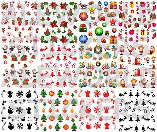 AWS Stock 12 foglietti Water Decals Natale + più di 350 Decals!! Dodici Confezioni Come Foto Twelve Sheets of Nail Art Adesivi Unghie Stickers Transfer trasferimento Acqua Christmas (12)