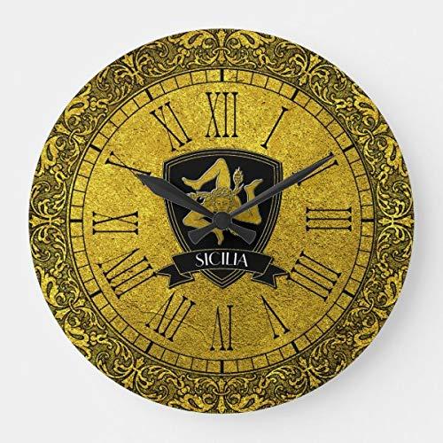 Elegante Barock Gold Sizilianische Trinacria große Uhr batteriebetrieben nicht tickend leise Kunst Wanduhr Schreibtischuhr Deko