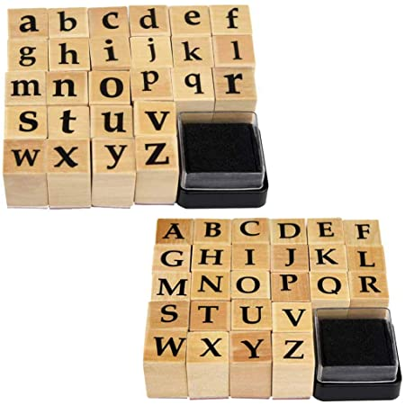 28 piece wood mounted small block elegant cursive letters card making invitations DIY uppercase lower case Alphabet Rubber Stamp Set