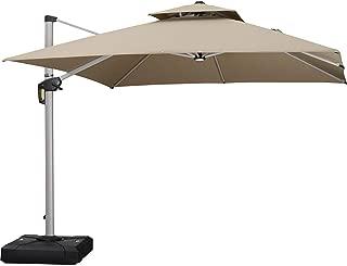 PURPLE LEAF 10 Feet Double Top Deluxe Sunbrella Square Patio Umbrella Offset Hanging Umbrella Outdoor Market Umbrella Garden Umbrella, Beige