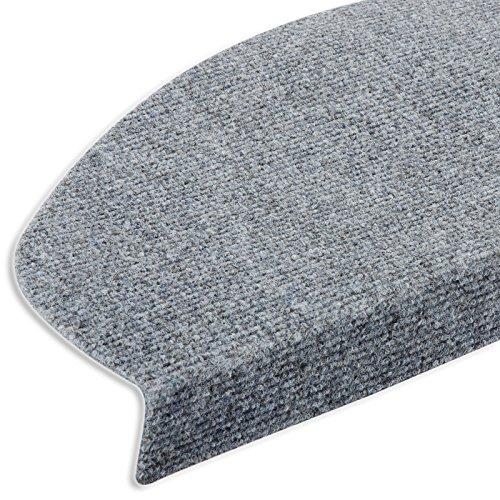 casa pura® Textilfaser - Stufenmatten | Testnote GUT | für attraktive & sichere Treppenstufen | Set mit 15 Stück | robuste Allzweck-Matten für Stufen (grau)