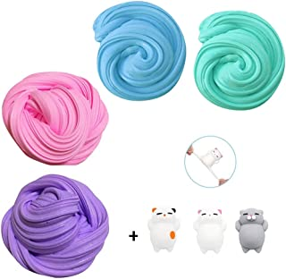 7 Pieces Stress Reliever Toy (4 Pcs DIY Fluffy Slime And 3 Pieces of Animal Squishies) Mud Toys Nontoxic Sensory Toys Grea...
