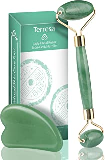 Jade Roller for Face, Terresa Facial Roller Massager with Gua Sha Scraping Tool, Eye Treatment Roller Natural Anti-aging, Skin Tightening, Rejuvenate Face and Neck, Remove Wrinkles & Puffiness (Green)