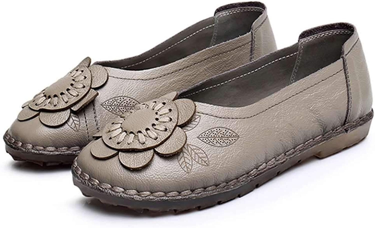 Luobote Women Loafers Genuine Leather Flat Slip On Handmade Flower Retro Moccasins