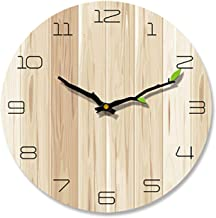 Li-Never Nordic Wall Clock Modern Minimalist Wood Grain Creative Silent Clocks Living Room Bedroom,Style J,12 Inch