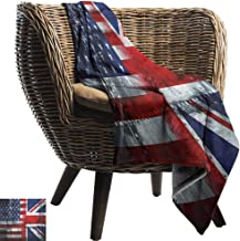 Mannwarehouse Union Jack Home Throw Blanket Alliance Togetherness Theme Composition of UK and USA Flags Vintage All Season Light Weight Living Room Navy Blue Red White