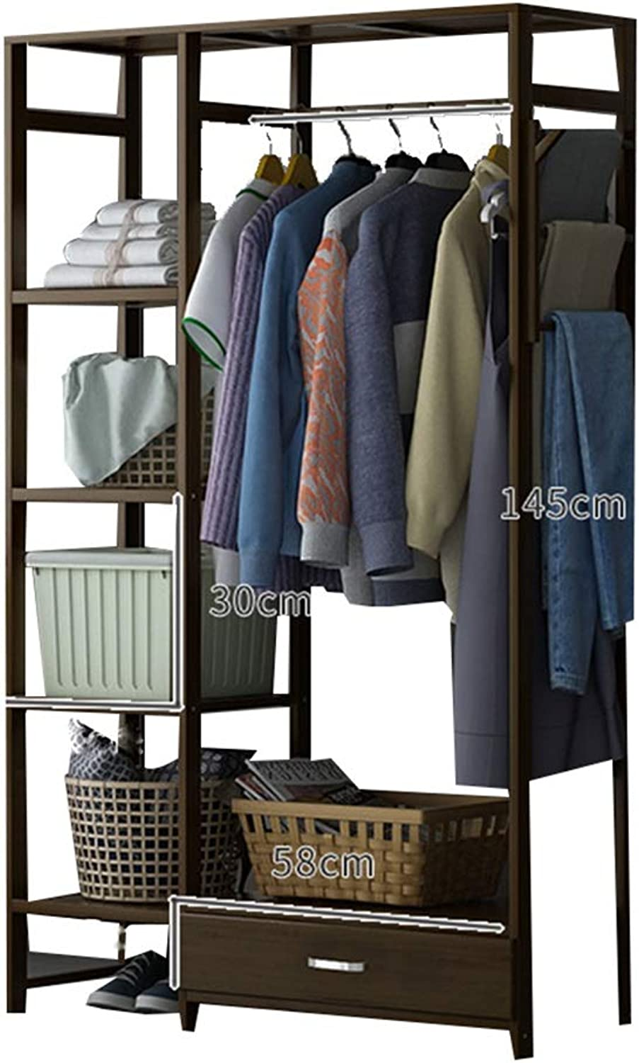 JIAYING Freestanding Garment Rack,Standing Multi-Functional Coat and shoes Rack,Bamboo Organizer Closet with 4-Tier Shelves and Drawer for Indoor Bedroom (Size   92×30×145CM)