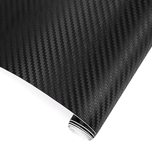 TRIXES 3D Carbon Fibre Vinyl Adhesive Wrap Sheet Roll for Car Vans Motorbikes etc - 1500 x 300 mm - Black - for Interior/Exterior - Textured 3D Effect