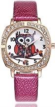 Women Owl Watch Round Dial Rhiestone Quartz Watch PU Leather ChristmasGift Casual Wristwatch