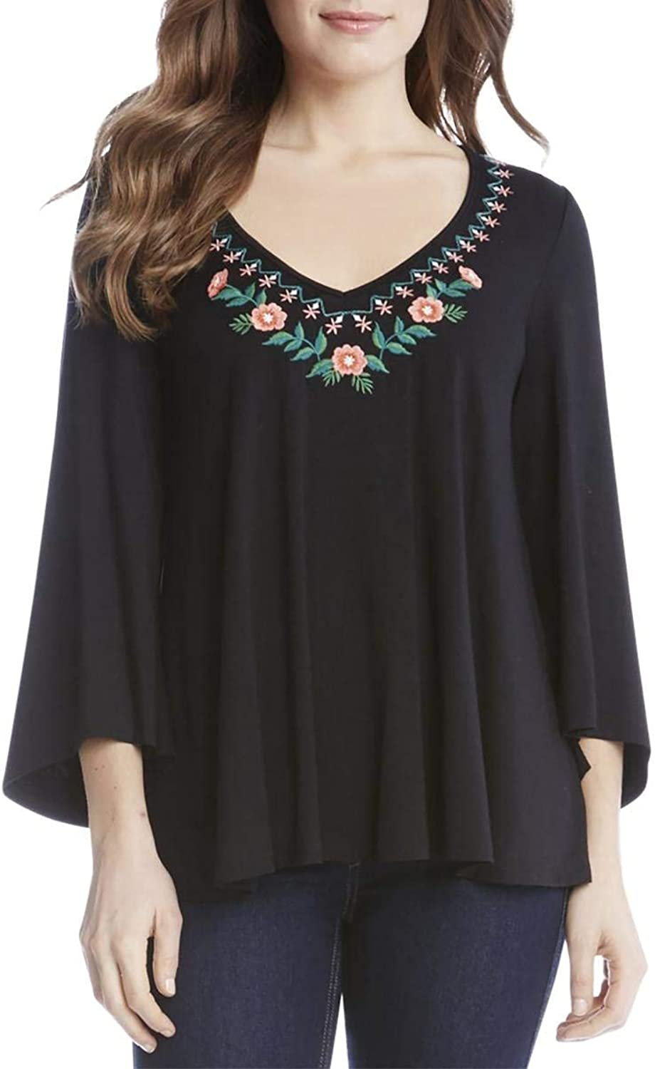 Karen Kane Womens Embroidered Floral Casual Top