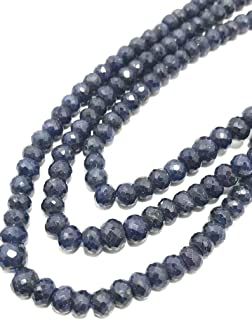 Zoya Gems & Jewellery Natural 1 Strand Blue Sapphire Micro Faceted Rondelle Beaded Necklace, 6mm, 18 Inches, Gemstone Bead...