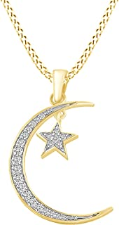 Christmas Holiday Sale 0.3 Carat (cttw) Round Shape White Natural Diamond Moon & Star Pendant Necklace