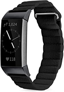 Shangpule Compatible for Fitbit Charge 3 and Charge3 SE Bands, Genuine Leather Loop Band with Unique Magnetic Replacement Wristbands Strap for Women Men Small Large (Black)