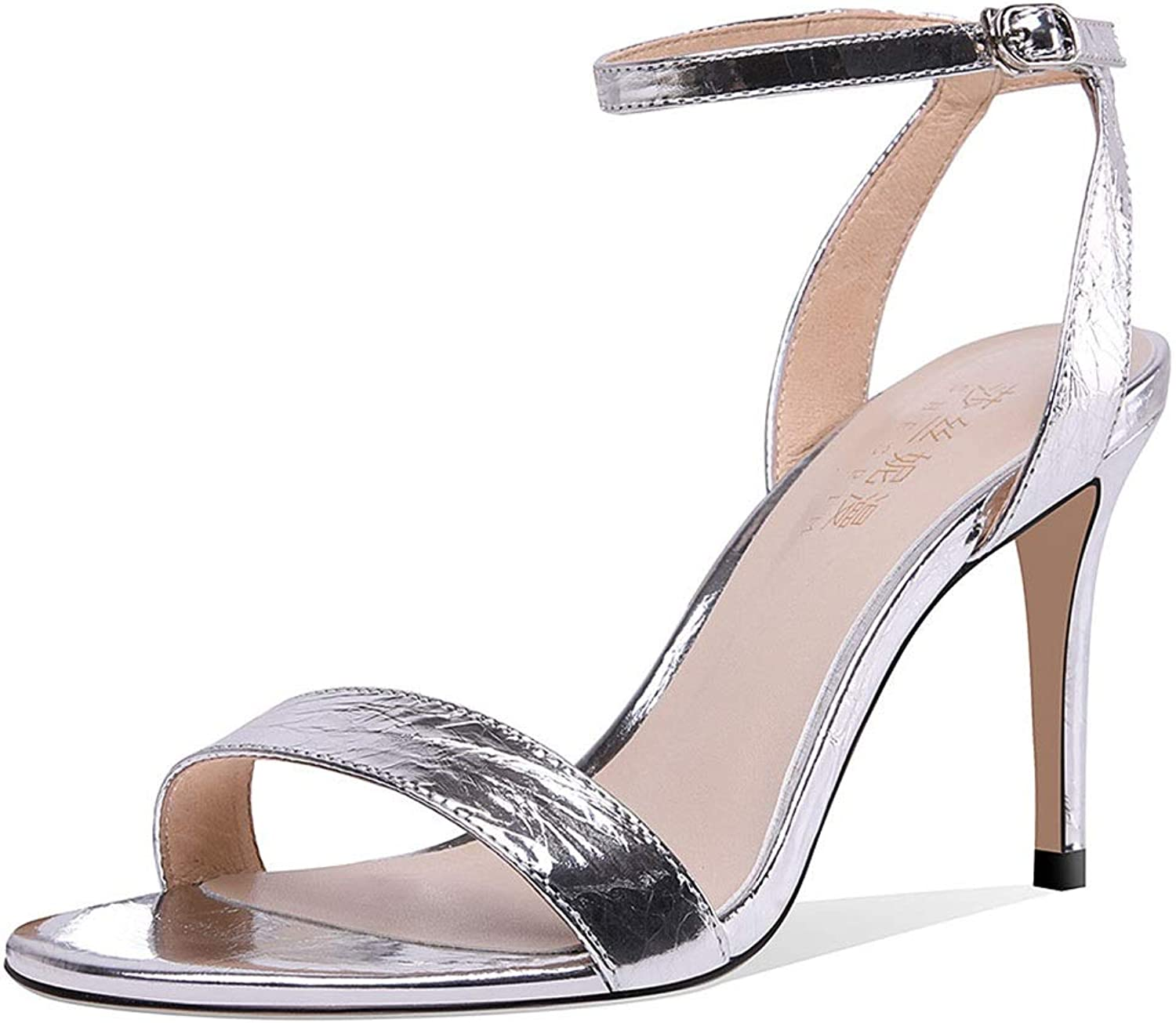 High Heels Women's sandals high Heels fine with 8cm sandals Word Buckle with Open Toe high Heels Very not Tired shoes Ladies sandals (color   Silver, Size   35)