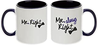 Gay Wedding Gift Pair Mugs - Mr. Right & Mr. Always Right Pair Mugs with Optional Personalized Names and Date (Dk Blue - 2pcs)