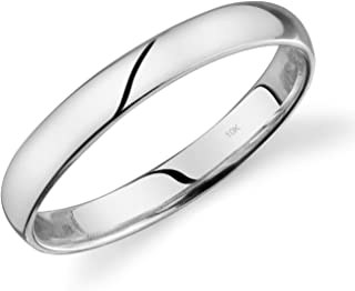 10k Yellow or White or Rose Gold Light Comfort Fit 3mm Wedding Band