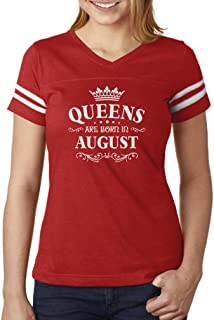 Birthday Gift for Women Queens are Born in August Women Football Jersey T-Shirt