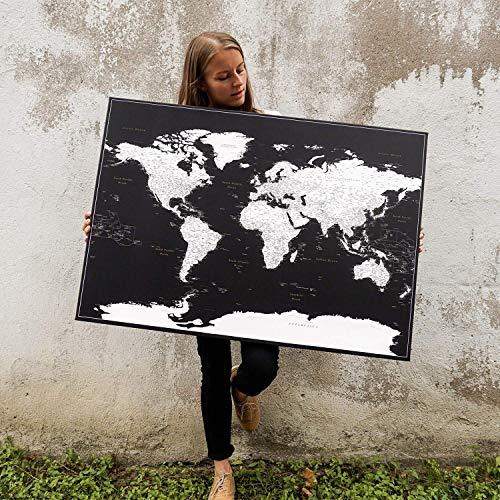 Pinnwand-Weltkarte - eingerahmte Leinwand Weltkarte Pinnwand mit 100 Push-Pins (inkl.) - Schwarz - Zum Aufhängen bereites Wandbild, Gemacht für Pinnig - 3 Größen zur Auswahl