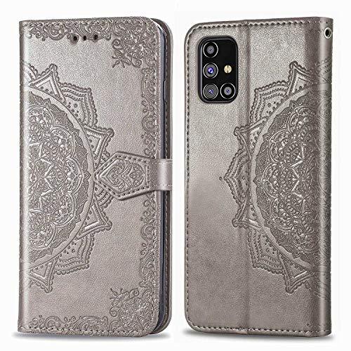 Bear Village Hülle für Galaxy M31S, PU Lederhülle Handyhülle für Samsung Galaxy M31S, Brieftasche Kratzfestes Magnet Handytasche mit Kartenfach, Grau