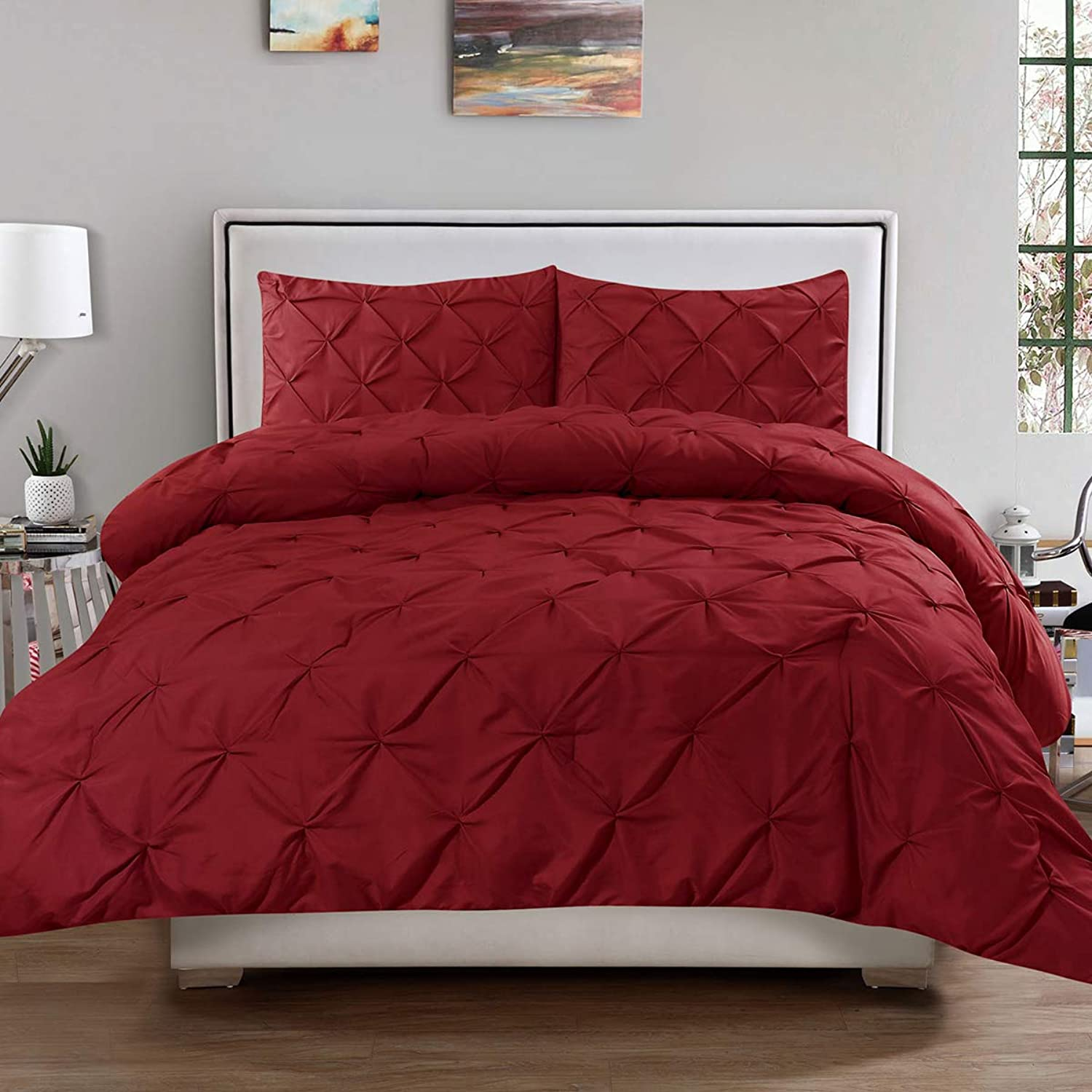 Sweet Home Collection 3 Piece Luxury Pinch Pleat Pintuck Fashion Duvet Set, Queen, Burgundy