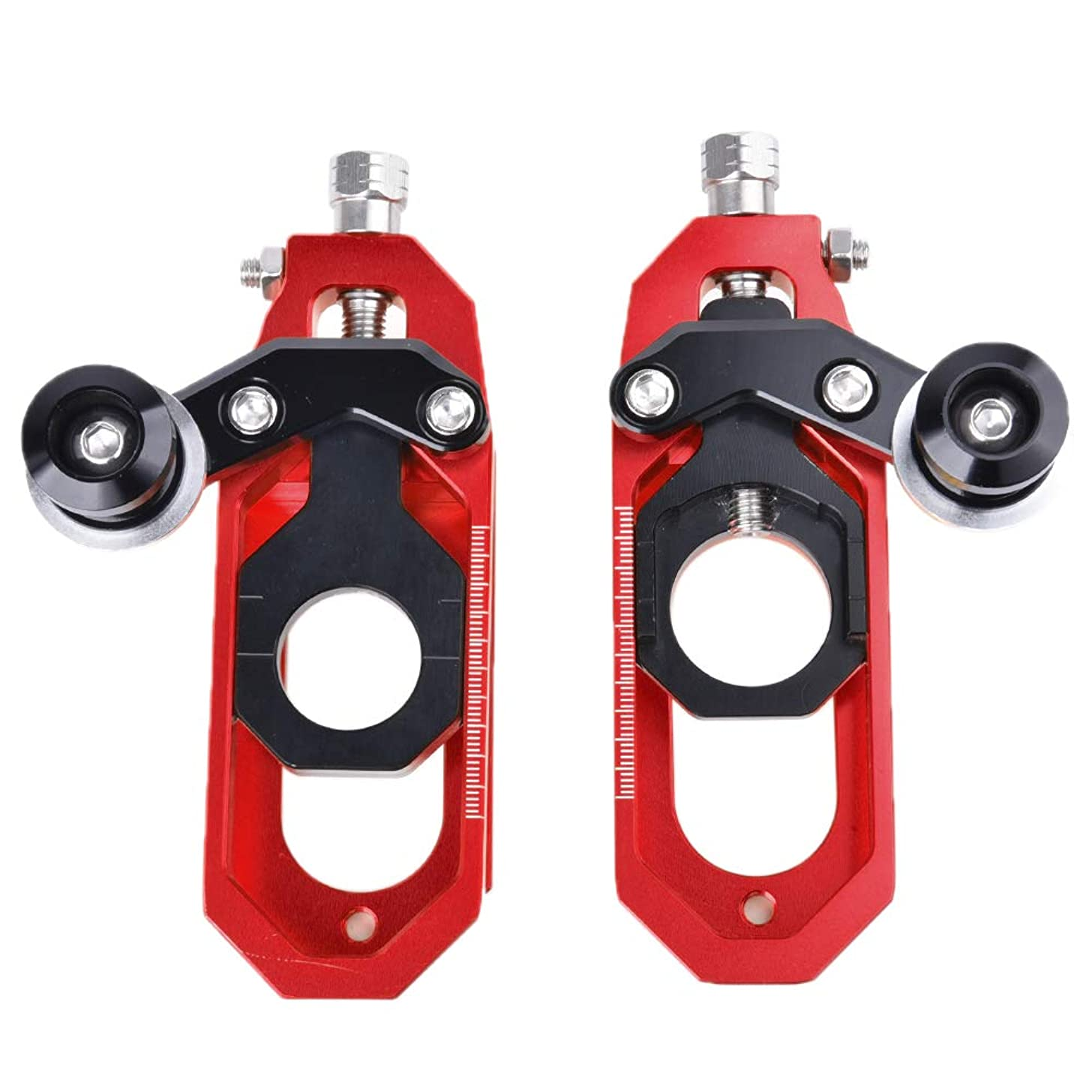 Motorcycle CNC Rear Axle Spindle Chain Adjuster Block Tensioners for Yamaha YZFR6 YZF-R6 YZFR6 2008 2009 2010 2011 2012 2013 2014 2015 after market (Red)