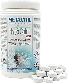 Metacril Hipoclorito 65 % en pastillas de 7 g – HypoChlor Tab 1 kg + dosificador c/termómetro ideal para piscina e hidromasaje (Teuco, jacuzzi, Dimhora, Bestway Intex).